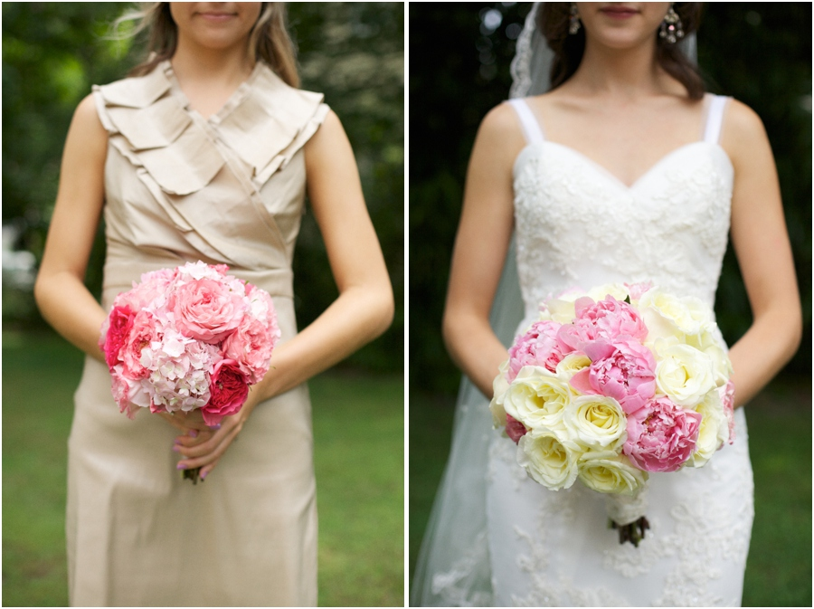 bridesmaid in tan dress holding blush and pink bouquet, bride holding pink and cream bouquet