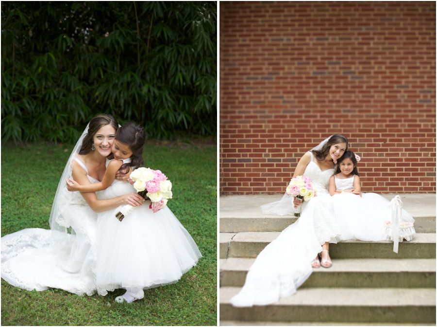 bride with flowergirl, southern wedding photographers, raleigh nc