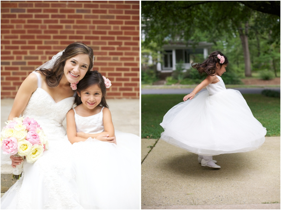city wedding photography, flowergirl twirling, southern wedding photographers