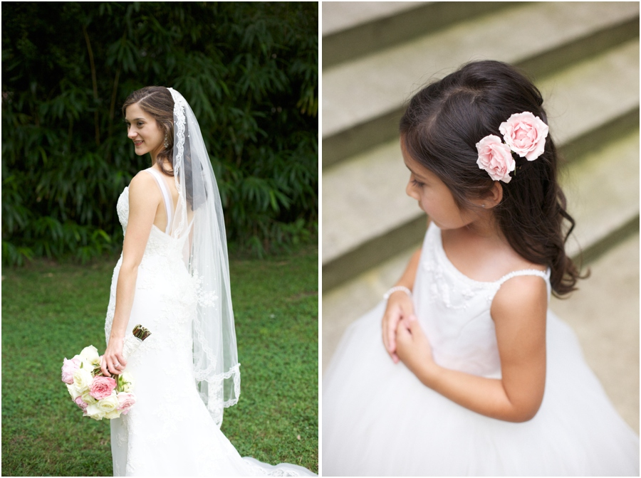 summer bridal photography, flowergirl with pink flowers in her hair, southern wedding photographers