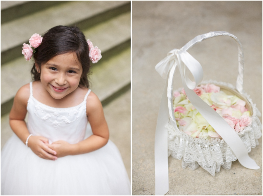 cute flowergirl, white ribbon covered basket with fresh flower petals