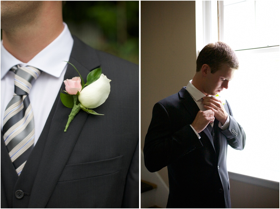 groom's pink and cream boutonniere, groom getting ready, southern wedding photography