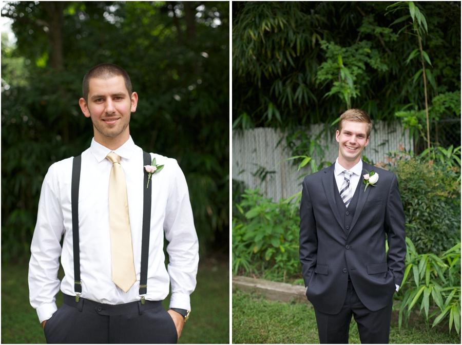 groomsmen in black suspenders, groom photography, raleigh nc