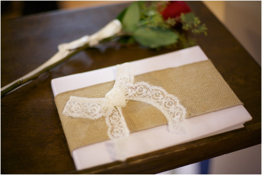 guest book with burlap and lace, vintage wedding photography, raleigh nc