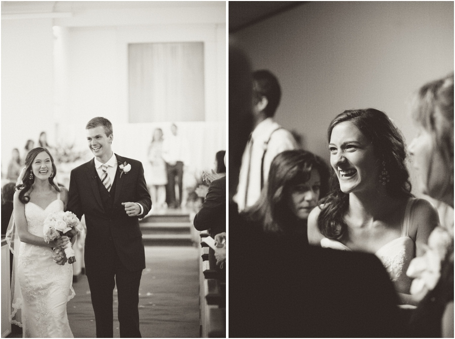 happy bride and groom after the ceremony, vintage wedding photography