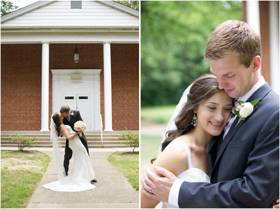 romantic dip-kiss outside of Mosaic Church, southern wedding photography, cary nc