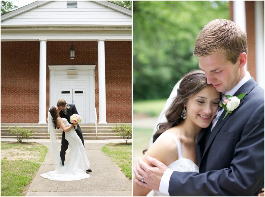 romantic dip-kiss outside of Mosaic Church, southern wedding photography, cary nc
