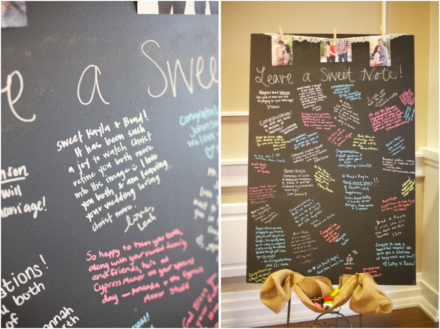sweet notes from friends and family on chalkboard guestbook, southern wedding photography
