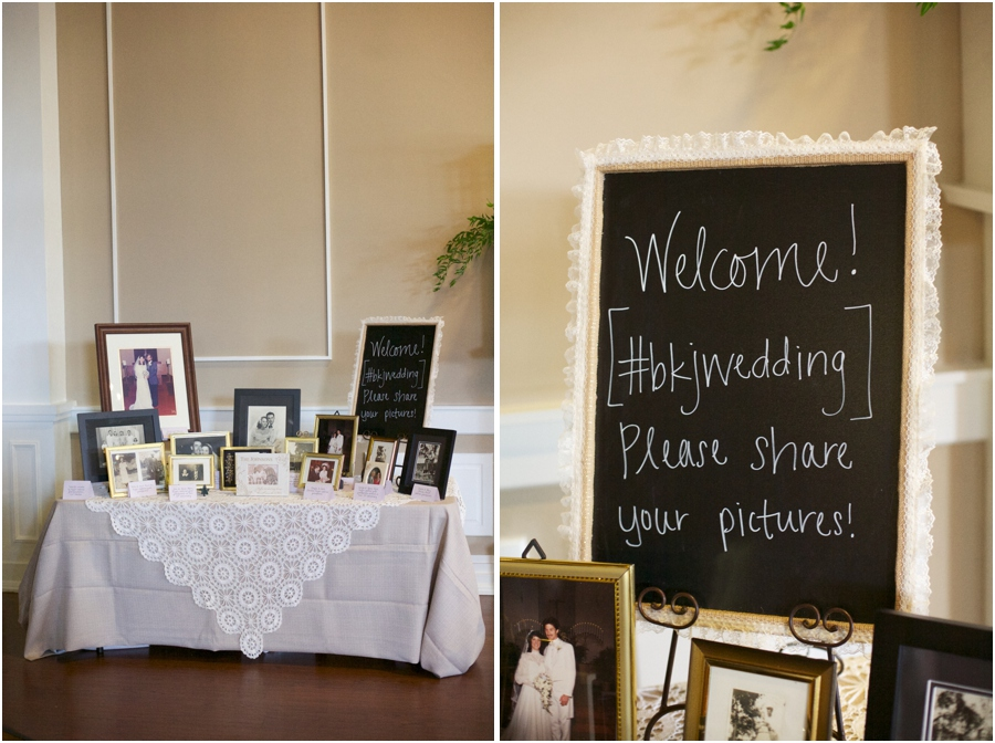 display of wedding photos of several generations of the bride and groom's families at wedding reception, southern wedding photographers