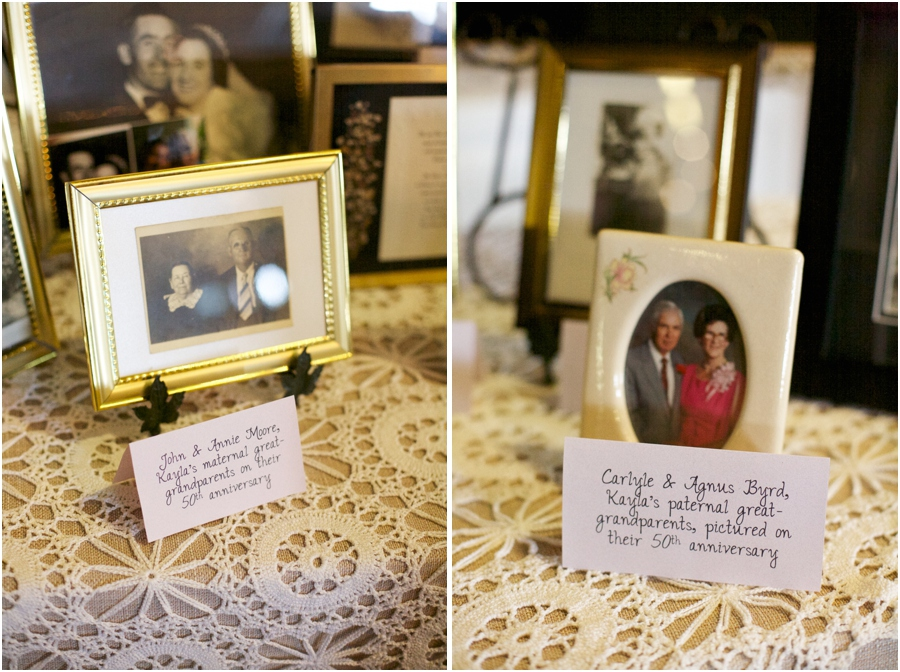 photos of several generations of the bride and groom's families at wedding reception, southern wedding photographers