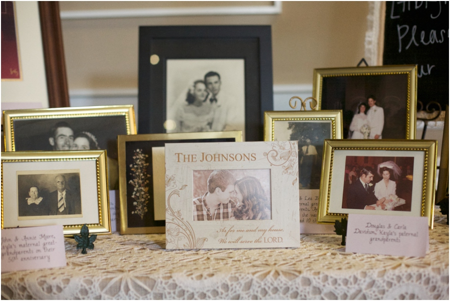 display of wedding pictures of several generations of the bride and groom's families at wedding reception, southern traditions, southern wedding photographers