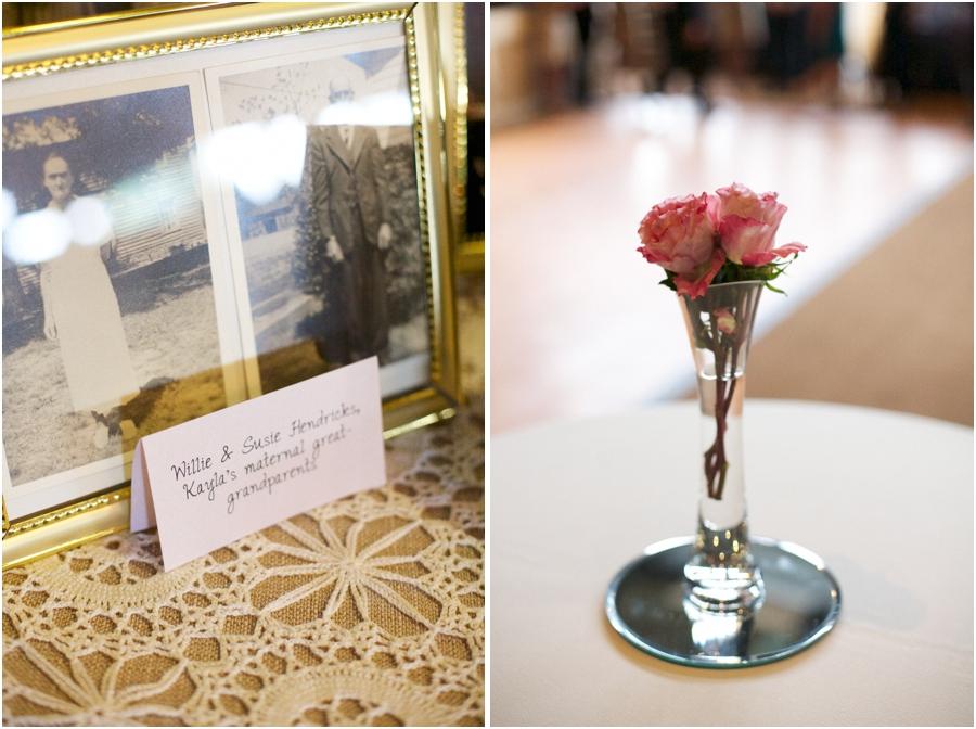 old photos of bride's grandparents, simple wedding reception centerpieces