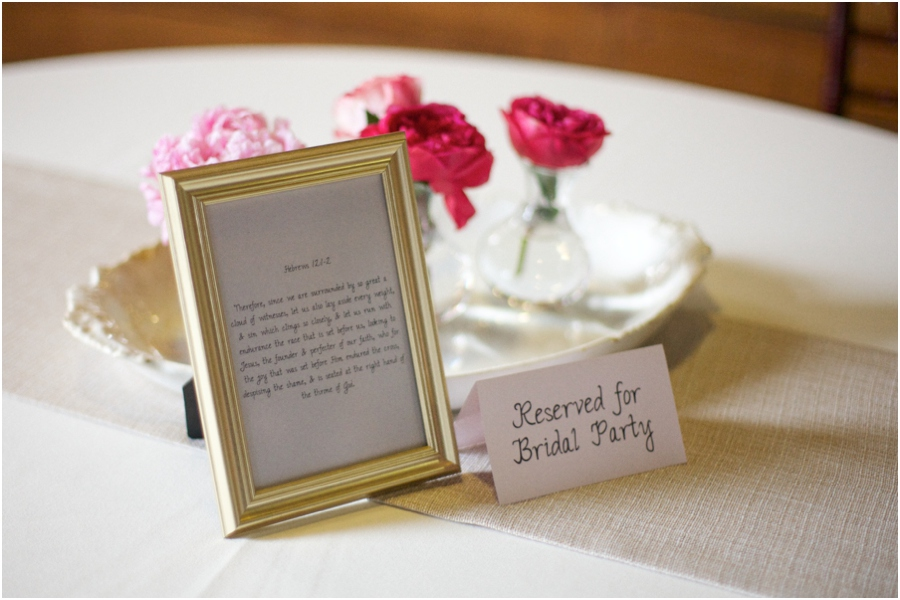 handwritten bible verses in assorted frames on reception tables, southern wedding photography