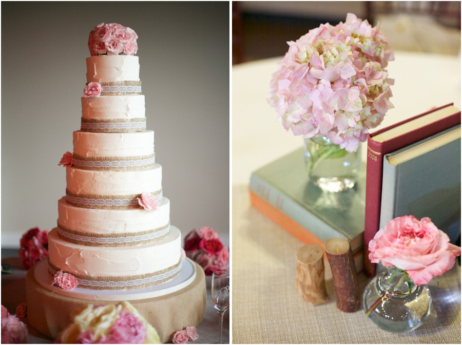 burlap and lace-edged wedding cake topped with pink flowers, couple's favorite books as centerpieces