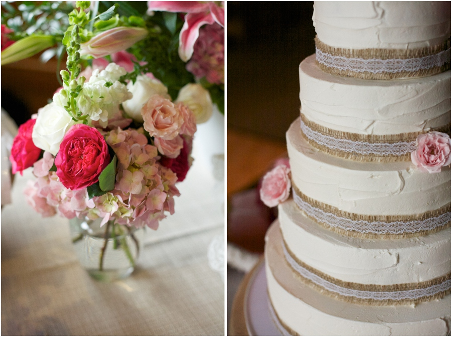 fresh floral centerpiece, southern wedding cake with rustic details, southern wedding photographers