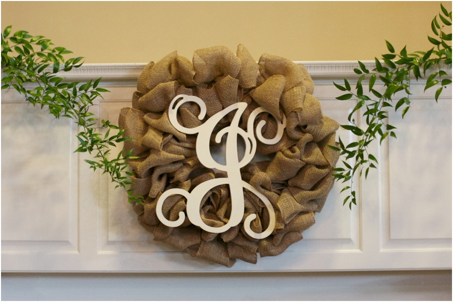 monogrammed burlap wreath at rustic wedding, southern wedding photography, raleigh nc