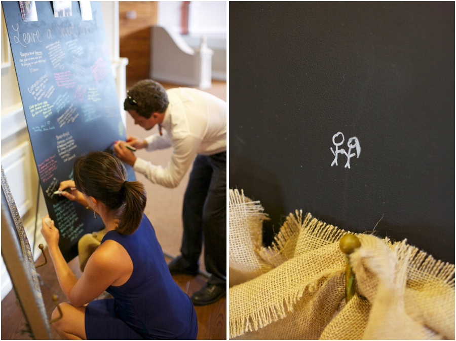 guests leaving notes on chalkboard guestbook, southern wedding inspiration