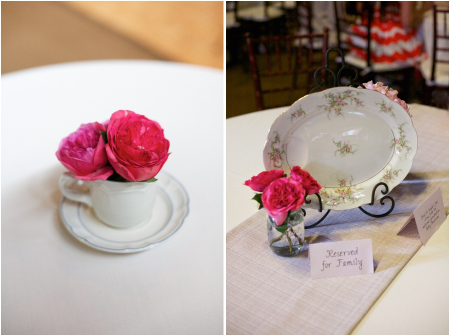 fresh pink flowers and heirloom china wedding centerpieces, vintage wedding photographers, raleigh nc
