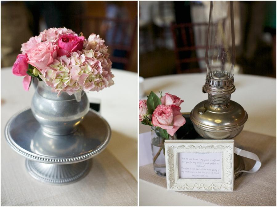 fresh blush pink flowers in heirloom centerpiece, vintage wedding centerpieces, southern wedding photographers