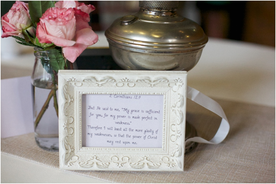 vintage wedding centerpieces, framed bible verses on each table, southern wedding photography, raleigh nc