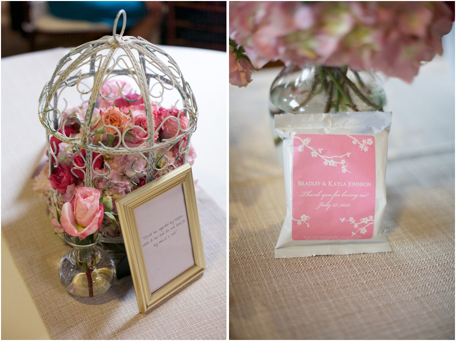 vintage floral wedding centerpieces, personalized packets of coffee as wedding favors