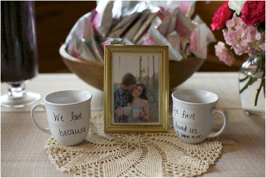 unique wedding reception decor, coffee mugs with couple's favorite bible verse, southern wedding photography