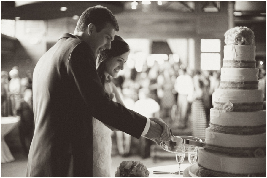 bride and groom cutting the cake, vintage wedding photographers, raleigh nc