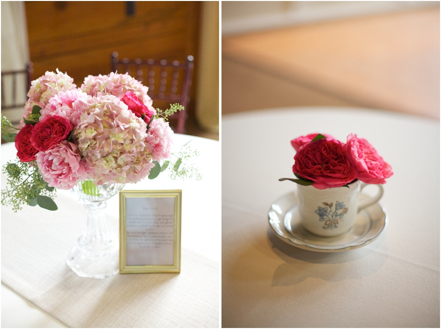 blush pink fresh floral arrangements, pink and red flowers in vintage teacup, vintage wedding photographers