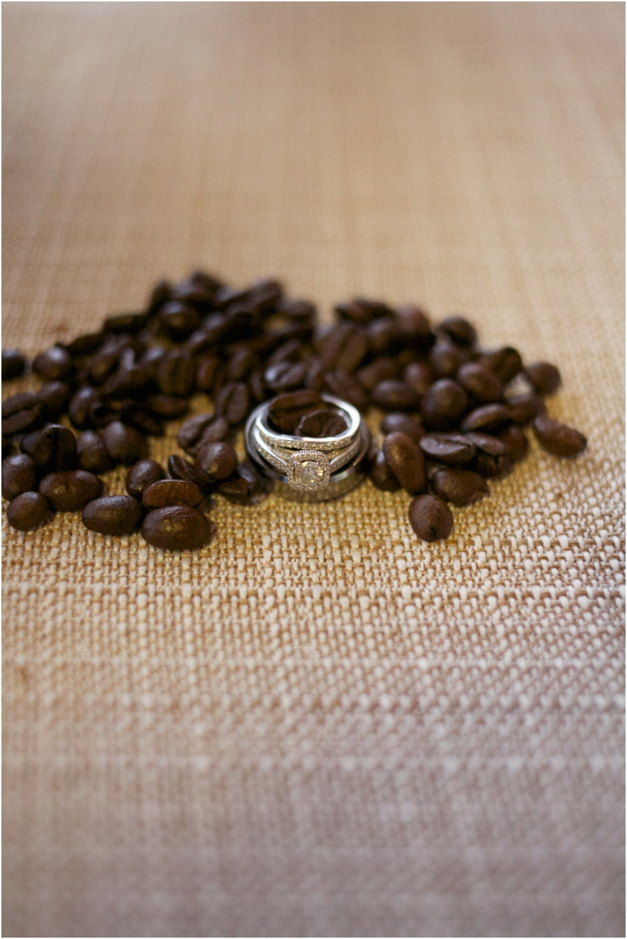 rustic ring shots, coffee bean ring shot, southern wedding photographers