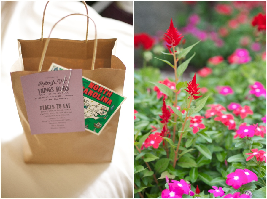 goodie bags for guests filled with local treats, southern wedding photography, raleigh nc