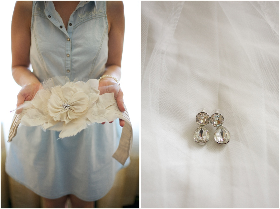 bridal flower belt, bridal earrings