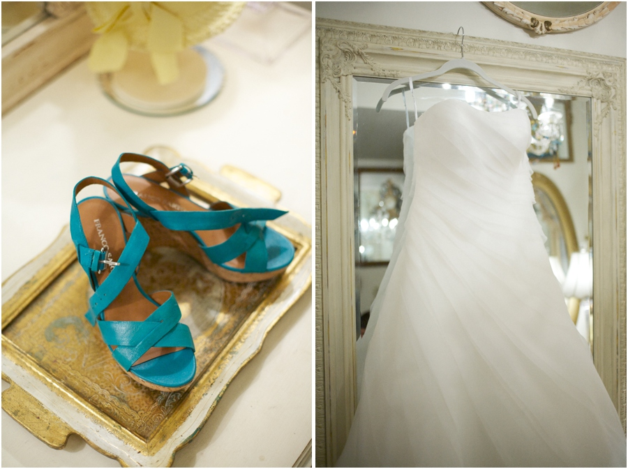 teal bridal shoes, wedding gown from Bridal Mart
