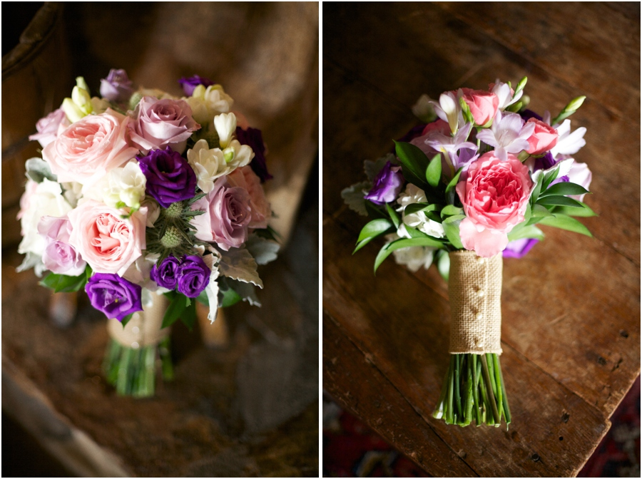 fresh floral bridal bouquets, blush pink and purple bridal bouquet by Watered Garden Florist