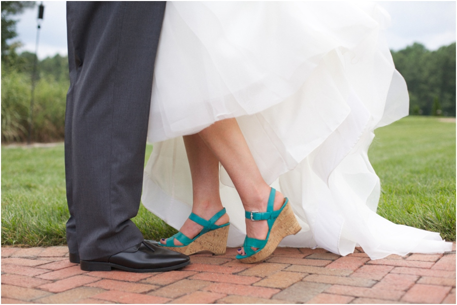 bride wearing teal wedges, southern wedding photography