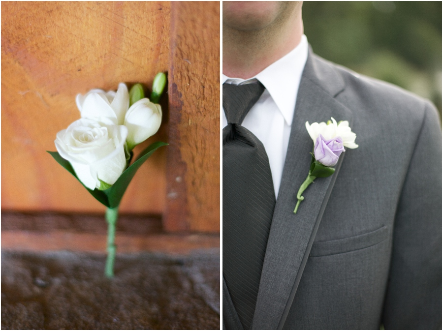 white rose boutonniere, purple and white boutonniere, southern wedding photography