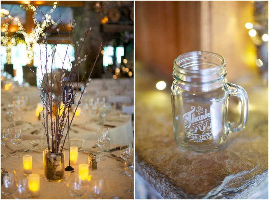 southern wedding reception table decor, personalized mason jar mugs as wedding favors