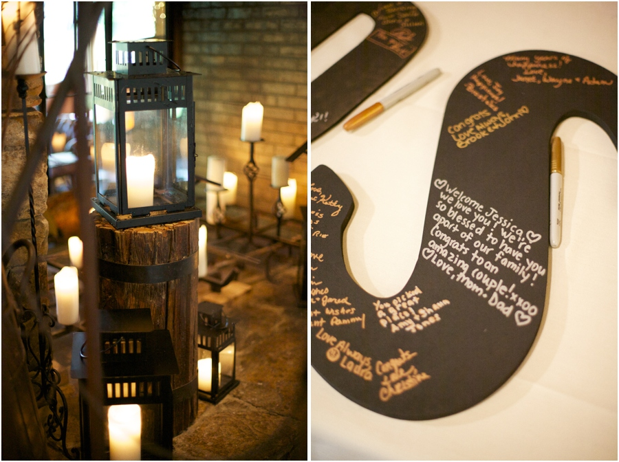 rustic wedding reception decor, cute guest book ideas