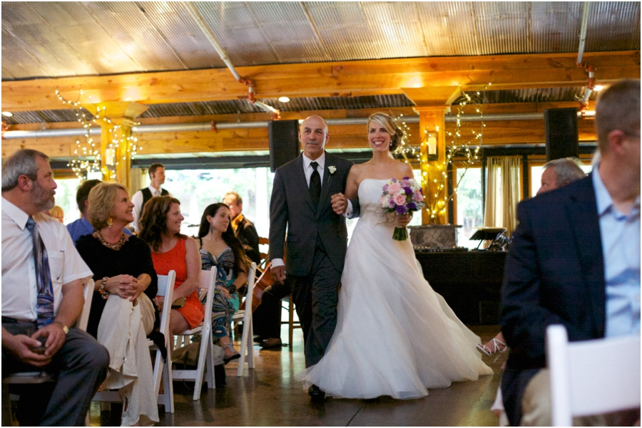 father walking bride up the aisle, angus barn wedding photography