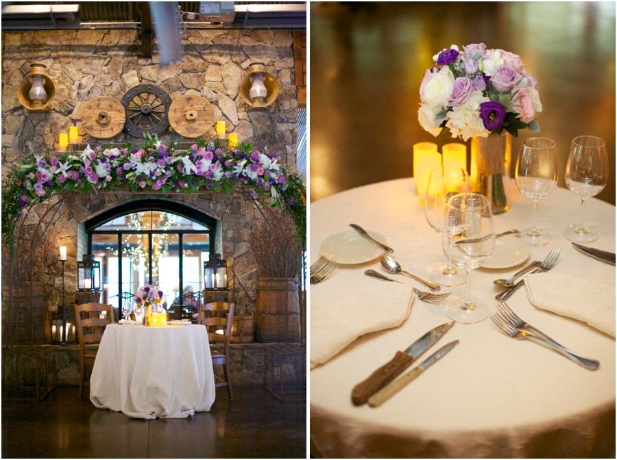 bride and groom's table at angus barn wedding reception, elegant wedding reception table settings