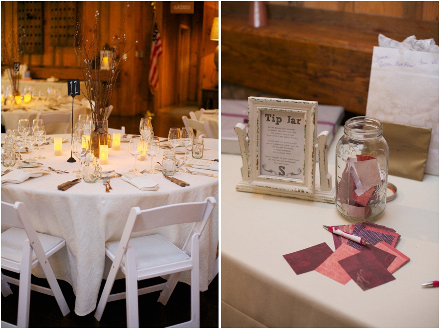 angus barn wedding reception, a tip jar for guests to put advice and well wishes for the couple