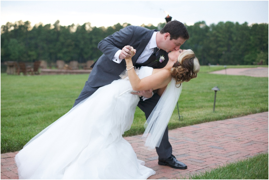 romantic dip-kiss, southern wedding photographers