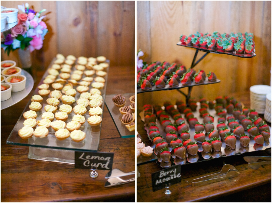 southern wedding reception treats, lemon curd and berry mousse