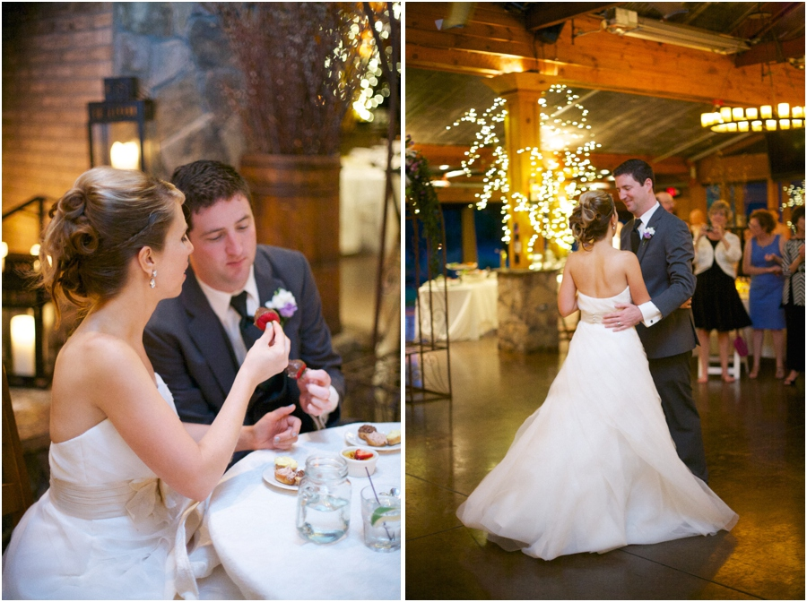 bride and groom enjoying chocolate covered strawberries, wedding reception photography