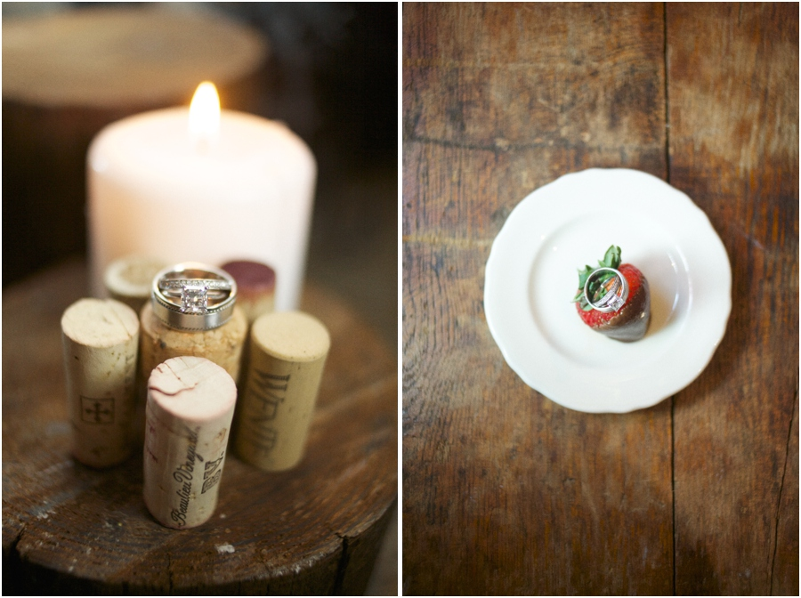 ring shot photography, wedding rings on wine corks, wedding bands on chocolate covered strawberry