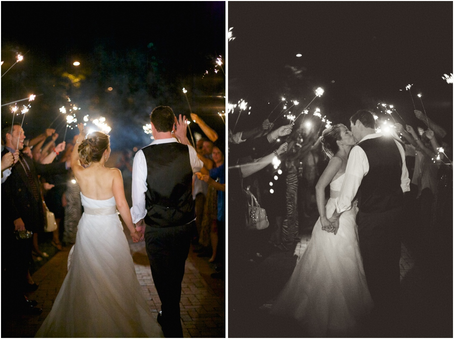 romantic wedding photography, sparkler send off