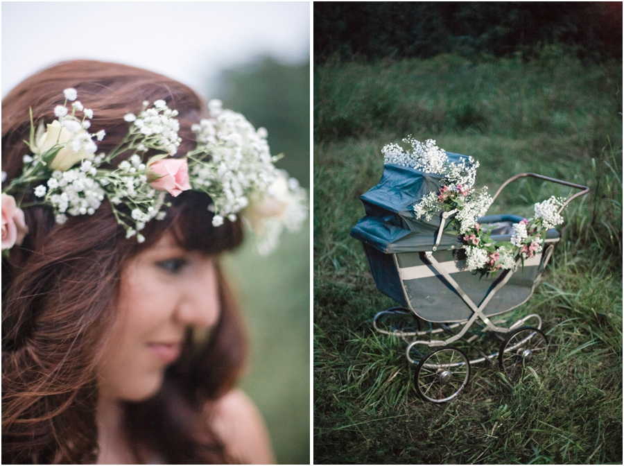 fresh flower crown with baby's breath and roses, vintage baby carriage