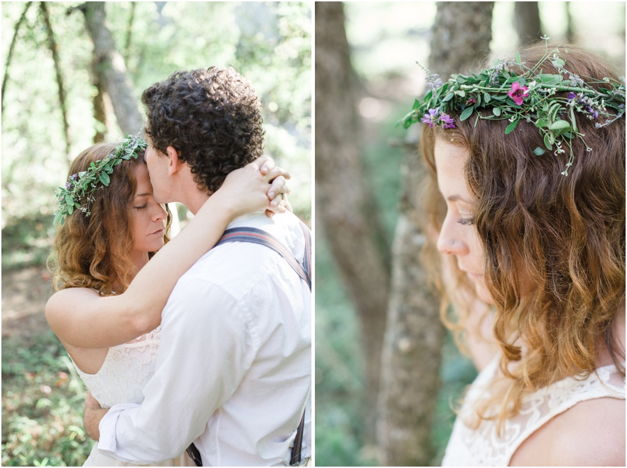 romantic bohemian engagement photography, wildflower crown