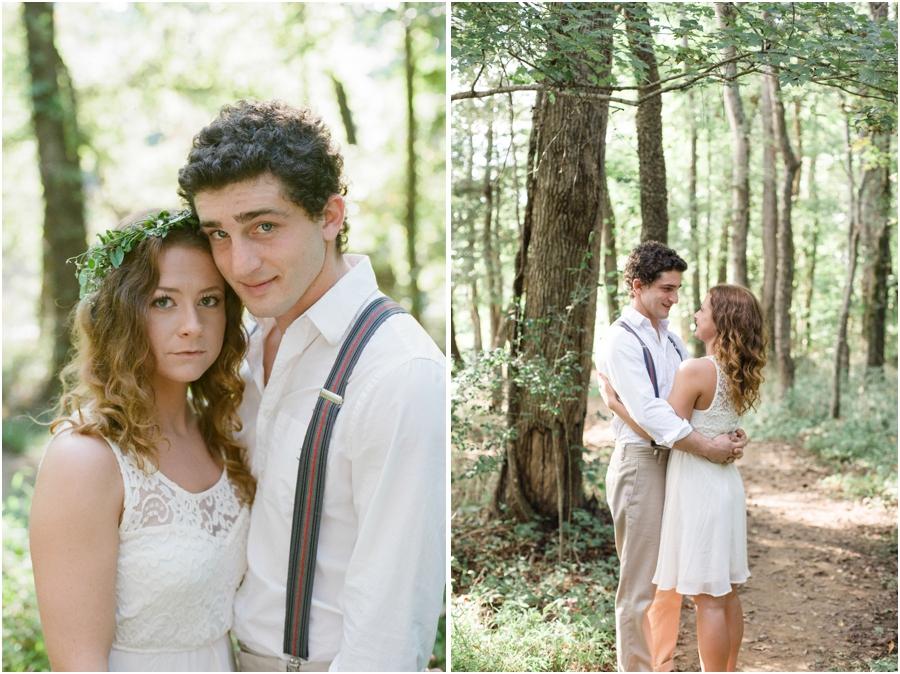 bohemian engagement photography, woodsy engagement photographer