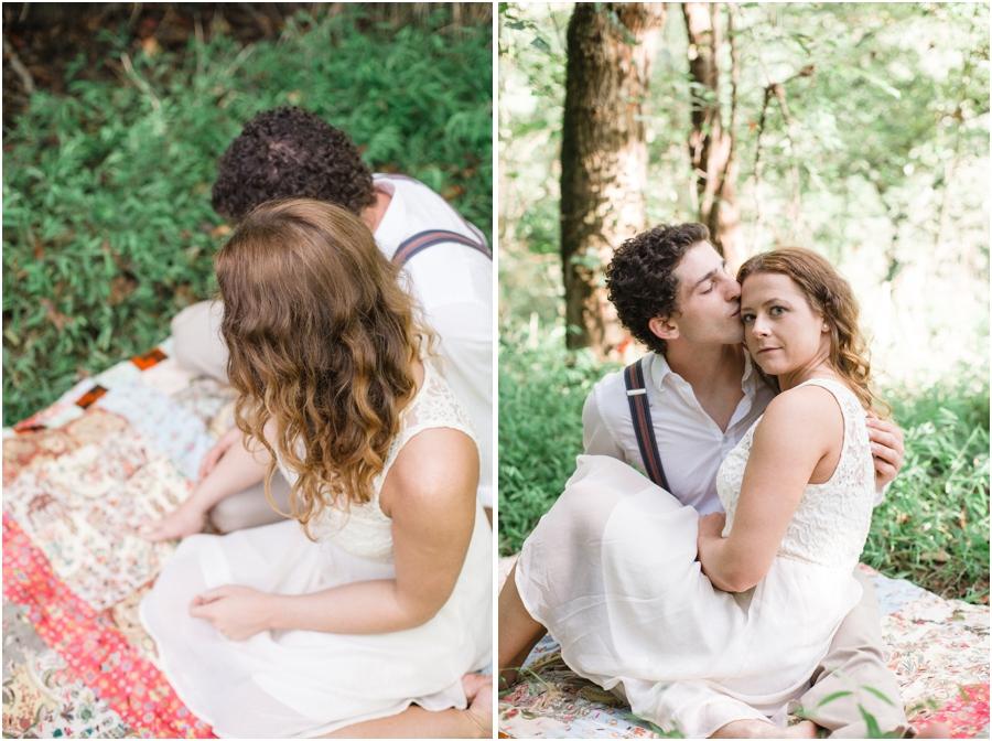 romantic picnic engagement, bohemian engagement photography