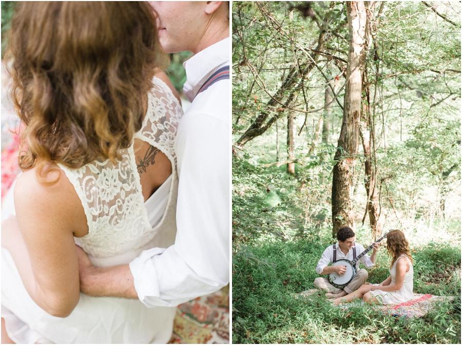 modern vintage engagement photography, bohemian picnic engagement